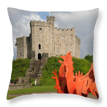 Norman Keep Cardiff Castle Throw Pillow by Jeremy Voisey