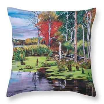 Throw Pillow featuring the painting Norman Lake  by Sharon Duguay