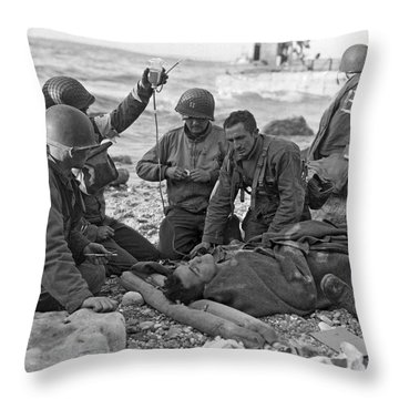 Normandy Invasion Medics Throw Pillow