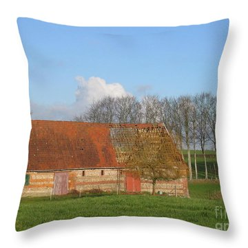 Normandy Storm Damaged Barn Throw Pillow