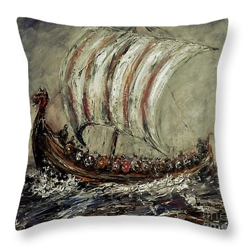 Norse Explorers Throw Pillow by Arturas Slapsys