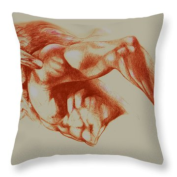 North American Minotaur Red Sketch Throw Pillow by Derrick Higgins
