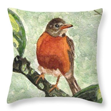 Throw Pillow featuring the painting North American Robin by Angela Davies