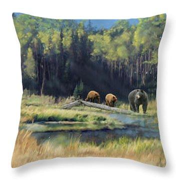 North American Waterhole Throw Pillow