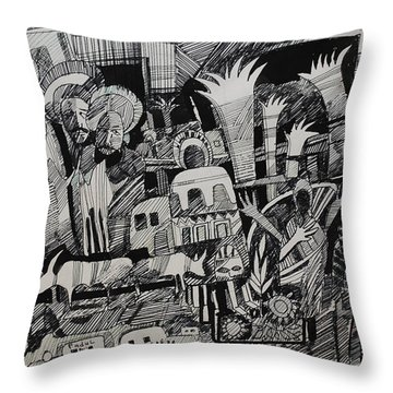 North And South Throw Pillow by Mohamed Fadul