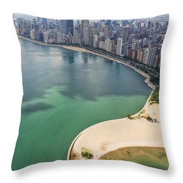 North Avenue Beach Chicago Aerial Throw Pillow by Adam Romanowicz