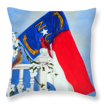 Throw Pillow featuring the painting North Carolina - A State Of Art by Shelia Kempf