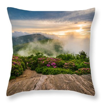 North Carolina Appalachian Trail Spring Blue Ridge Mountains Throw Pillow