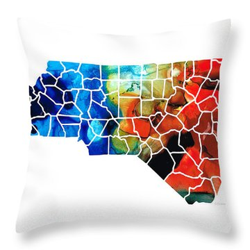 North Carolina - Colorful Wall Map By Sharon Cummings Throw Pillow