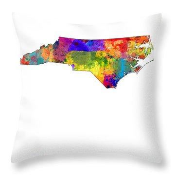 North Carolina Map Throw Pillow