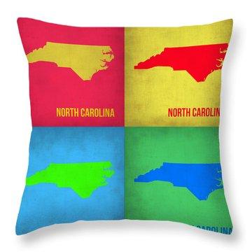 North Carolina Pop Art Map 1 Throw Pillow