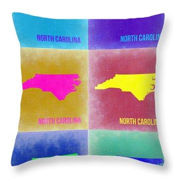 North Carolina Pop Art Map 2 Throw Pillow by Naxart Studio