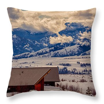 Throw Pillow featuring the painting North Cascades Mountain View by Omaste Witkowski