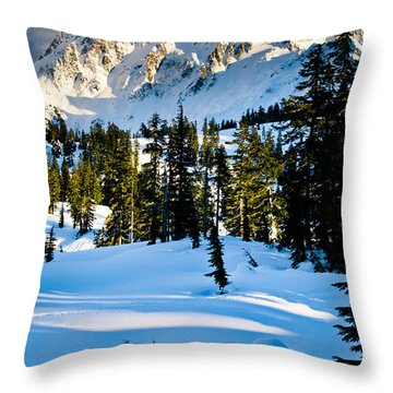 North Cascades Winter Throw Pillow by Inge Johnsson