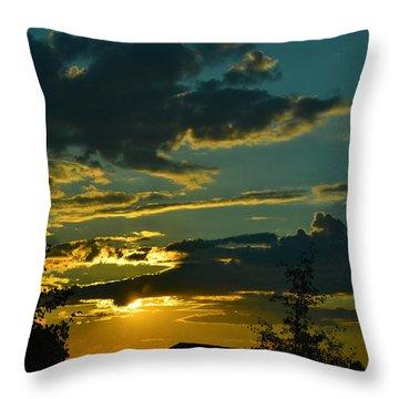 North Dakota Sunset Throw Pillow by Carlee Ojeda