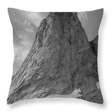 109649-bw-north Face Pingora Peak, Wind Rivers Throw Pillow