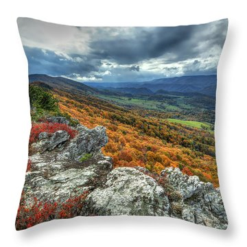 North Fork Mountain Overlook Throw Pillow by Jaki Miller