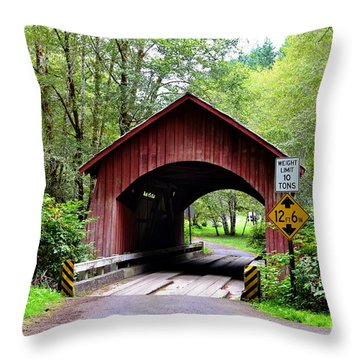 North Fork Yachats Covered Bridge Throw Pillow