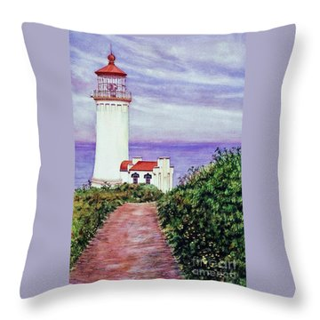 North Head Light House On The Washington Coast Throw Pillow