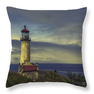 North Head Lighthouse Throw Pillow by Jean OKeeffe Macro Abundance Art