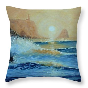 North Head Twilight Mist Throw Pillow