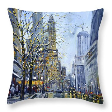 North Michigan Avenue Throw Pillow