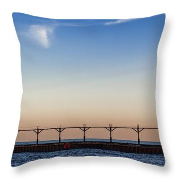 North Pier Throw Pillow by John Crothers