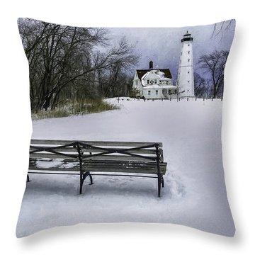 North Point Lighthouse And Bench Throw Pillow by Scott Norris