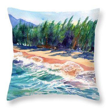 North Shore Beach 2 Throw Pillow by Marionette Taboniar