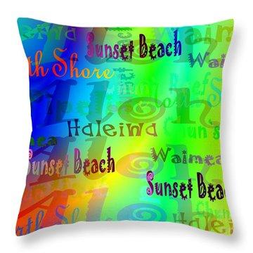 North Shore Beaches Throw Pillow