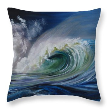 Throw Pillow featuring the painting North Shore Curl by Donna Tuten