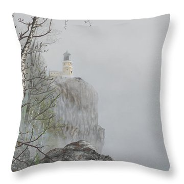North Shore Lighthouse In The Fog Throw Pillow