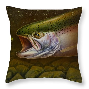 Throw Pillow featuring the painting North Shore Steelhead by Jon Q Wright