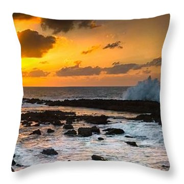North Shore Sunset Crashing Wave Throw Pillow