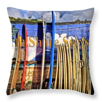 North Shore Surf Shop Throw Pillow