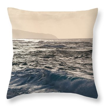 North Shore Waves Throw Pillow