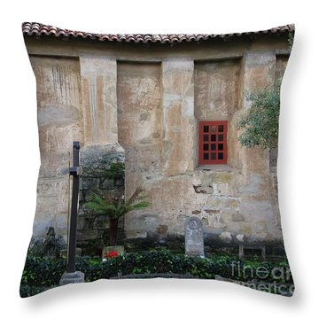 North Wall Of The Carmel Mission Throw Pillow