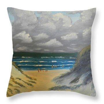 Throw Pillow featuring the painting North Windang Beach by Pamela  Meredith