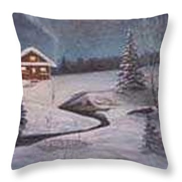 North Woods Cabin Throw Pillow by Rick Huotari