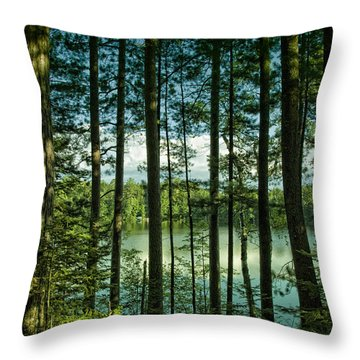 North Woods Lake Throw Pillow