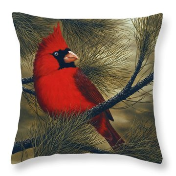 Northern Cardinal Throw Pillow by Rick Bainbridge
