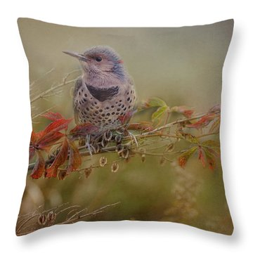 Northern Flicker In Fall Colors Throw Pillow