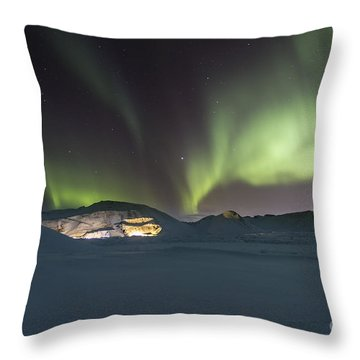Northern Lights Iceland Throw Pillow