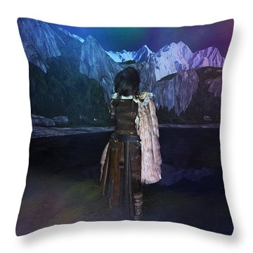 Northern Lights Throw Pillow by Kylie Sabra