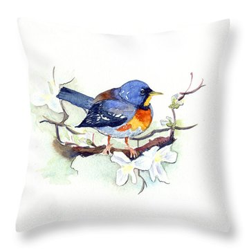 Northern Parula Throw Pillow by Katherine Miller