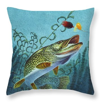 Throw Pillow featuring the painting Northern Pike Spinner Bait by Jon Q Wright