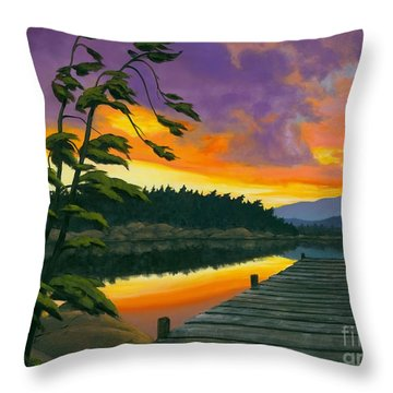 Throw Pillow featuring the painting After Glow - Oil / Canvas by Michael Swanson