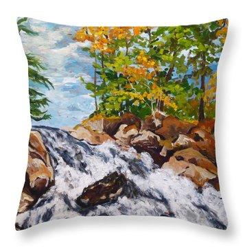 Northern Waterfall Throw Pillow by Diane Arlitt