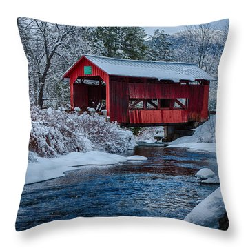 Northfield Vermont Covered Bridge Throw Pillow