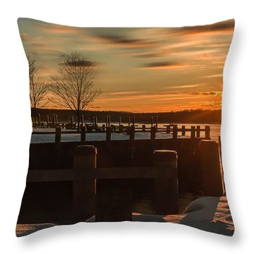 Northport New York Winter Sunset Throw Pillow